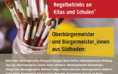Oberbürgermeister aus Südbaden fordern Regelbetriebs an Kitas und Schulen